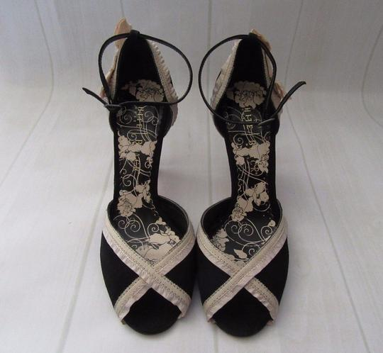 White House | Black Market Suede Peep Toe Ankle Strap Ecru Ribbon black Formal Image 9