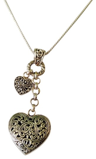 Shablool Silver Jewelry Design Sterling Silver Double Heart Charm Necklace