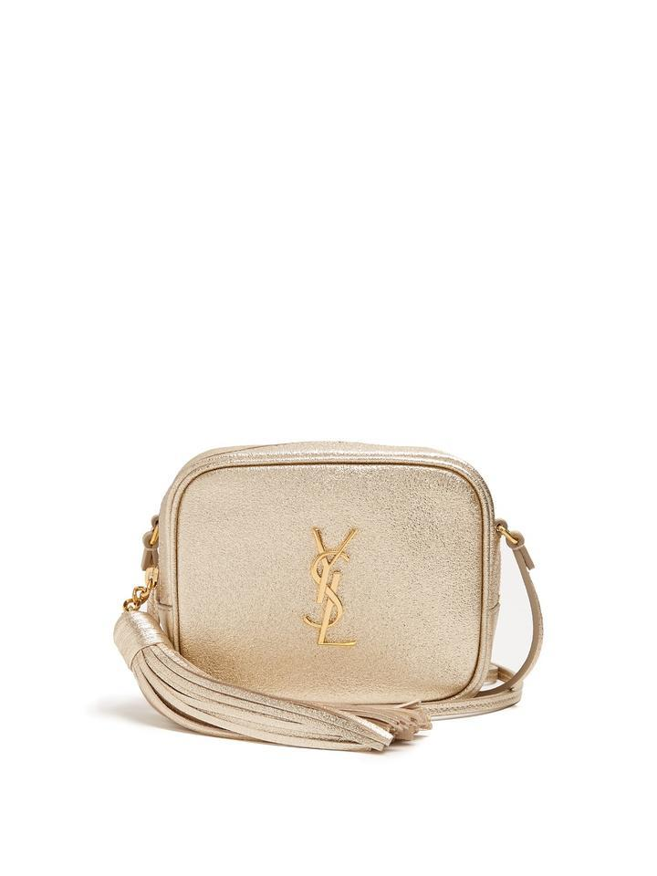 42303e325196 Saint Laurent Ysl Monogram Metallic Blogger Tassel Gold Leather ...