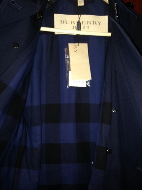 Burberry Trench Spring Double Breasted Coat Blue Navy Blue Jacket