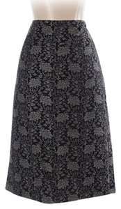 Ann Taylor Skirt Navy blue printed sheath with pleat in the back