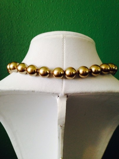 Other Gold Large (12mm) Pearl & Crystal Bead Necklace