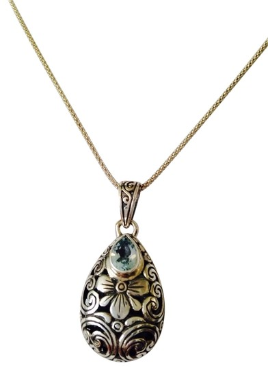 JS Collections Faceted Blue Topaz In Scrolled Sterling Silver Necklace