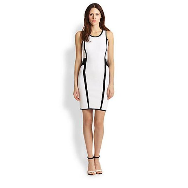 Preload https://img-static.tradesy.com/item/21535126/milly-white-contrast-paneled-bodycon-short-night-out-dress-size-4-s-0-0-650-650.jpg