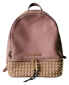 Michael Kors Rhea Studded Pink Leather Backpack