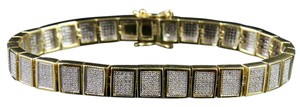 Jewelry Unlimited 10K Yellow Gold Men's Square Cluster Real Diamond Bracelet 2.5 CT 8MM