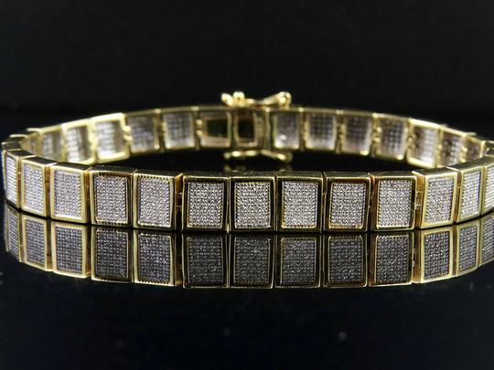 Jewelry Unlimited 10K Yellow Gold Men's Square Cluster Real Diamond Bracelet 2.5 CT 8MM Image 1