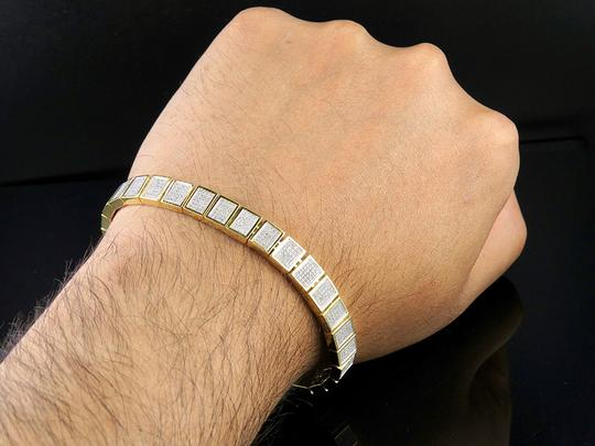 Jewelry Unlimited 10K Yellow Gold Men's Square Cluster Real Diamond Bracelet 2.5 CT 8MM Image 3