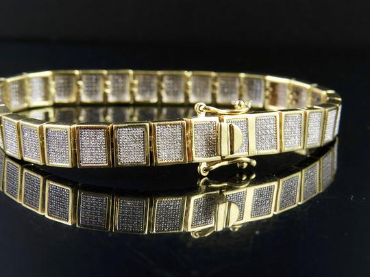 Jewelry Unlimited 10K Yellow Gold Men's Square Cluster Real Diamond Bracelet 2.5 CT 8MM Image 4