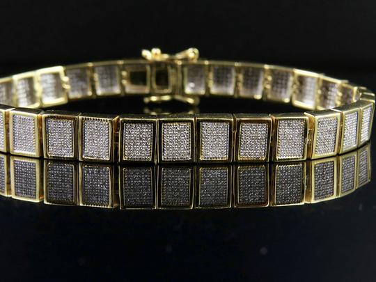 Jewelry Unlimited 10K Yellow Gold Men's Square Cluster Real Diamond Bracelet 2.5 CT 8MM Image 6