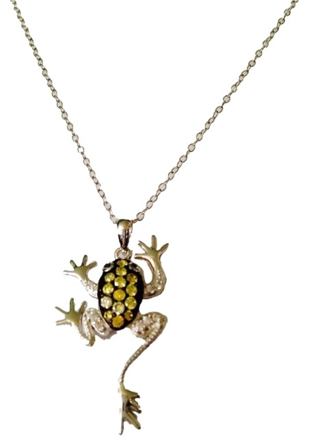 Item - Green/Silver & White Crystal In Sterling Frog Necklace