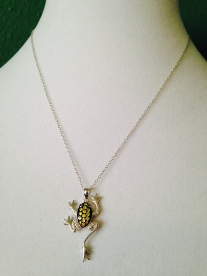 JS Collections Green & White Crystal In Sterling Silver Frog Necklace