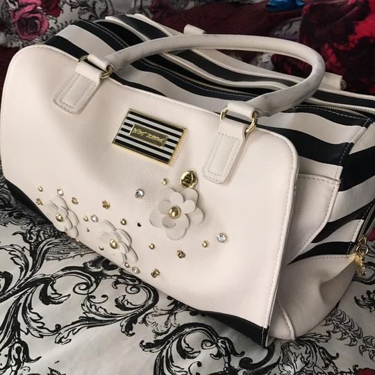 Betsey Johnson Satchel in black and white Image 1