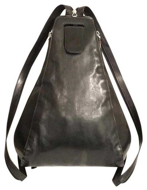 Item - Venice Betta Sling Black Silver Leather Backpack