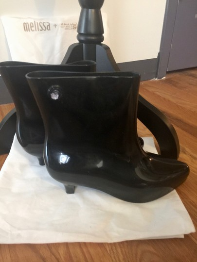 Melissa Eco-friendly Moschino Designer Fashion Rain Black Boots Image 3
