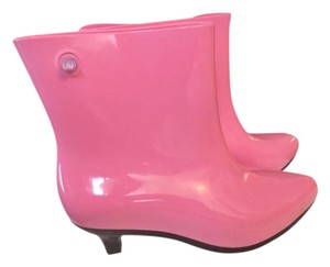 Melissa Eco-friendly Moschino Designer Fashion Rain Pink/Black Boots