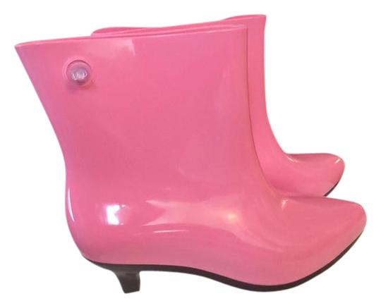 Melissa Eco-friendly Moschino Designer Fashion Rain Pink/Black Boots Image 0
