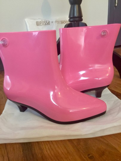Melissa Eco-friendly Moschino Designer Fashion Rain Pink/Black Boots Image 2