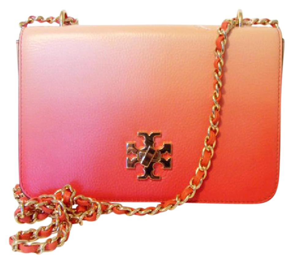 59163815fb9f Tory Burch Mercer Degrade Spiced Coral Pebbled Leather Shoulder Bag ...