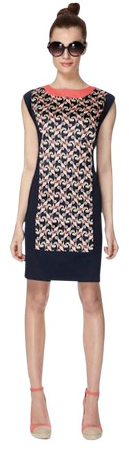 Item - Navy/Coral Shift Short Casual Dress Size 2 (XS)