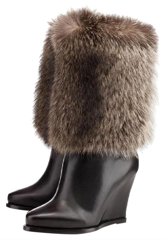 1a87c3d7813 Christian Louboutin Black New Chiwawa Leather Fur High Wedge Heel Red Sole  Lady Fashion Toe Boots Booties