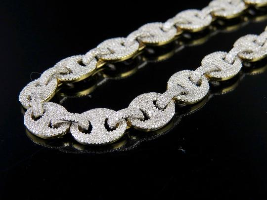 Other 10K Yellow Gold Real Diamond Puff Mariner GG Chain Necklace 16.8 CT Image 2
