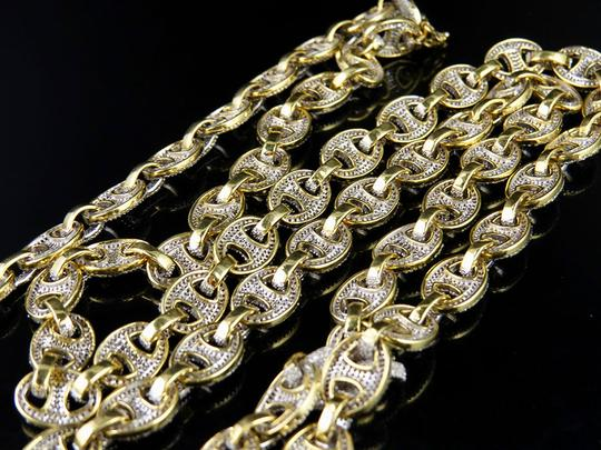 Other 10K Yellow Gold Real Diamond Puff Mariner GG Chain Necklace 16.8 CT Image 3