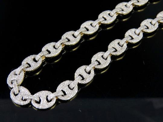Other 10K Yellow Gold Real Diamond Puff Mariner GG Chain Necklace 16.8 CT Image 4