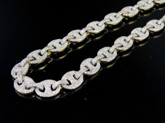 Other 10K Yellow Gold Real Diamond Puff Mariner GG Chain Necklace 16.8 CT Image 7
