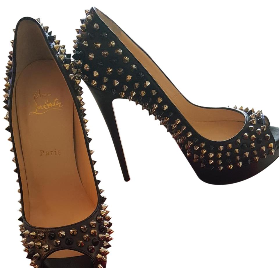 outlet store 586c8 476ce Christian Louboutin Black In Box Lady Peep Spikes 150mm Platforms Size US  9.5 Regular (M, B) 47% off retail