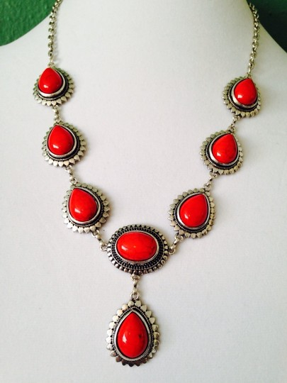 Other 2-Piece Set, Red Teardrop & Silver-Tone Necklace & Earrings Image 1