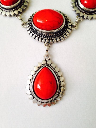 Other 2-Piece Set, Red Teardrop & Silver-Tone Necklace & Earrings Image 2