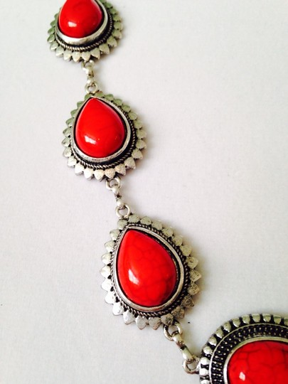 Other 2-Piece Set, Red Teardrop & Silver-Tone Necklace & Earrings Image 3