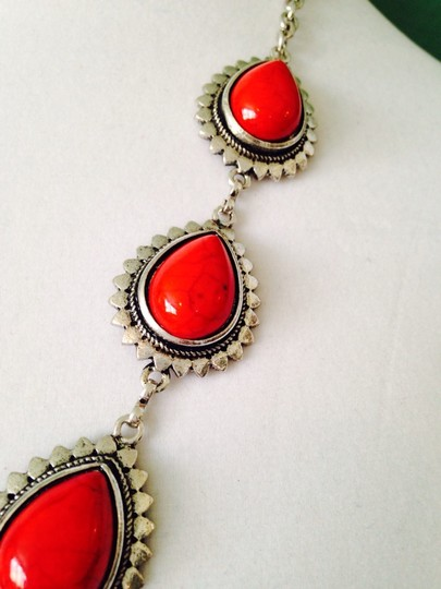 Other 2-Piece Set, Red Teardrop & Silver-Tone Necklace & Earrings
