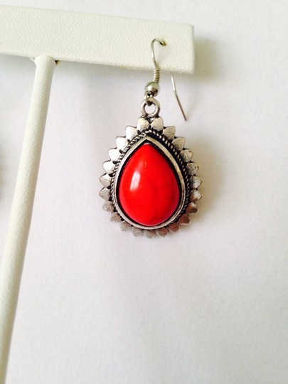 Other 2-Piece Set, Red Teardrop & Silver-Tone Necklace & Earrings Image 6