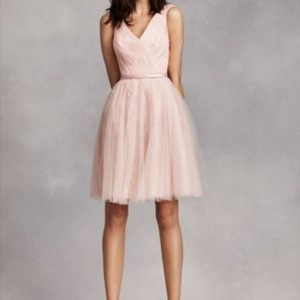 White by Vera Wang Blush Tulle and Lace Vw360206-sleeveless Over Vintage Bridesmaid/Mob Dress Size 0 (XS)