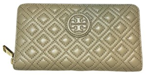 Tory Burch Marion Quilted Multi-Gusset Zip Continental Wallet French Gray Leather