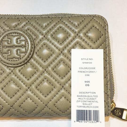Tory Burch Marion Quilted Multi-Gusset Zip Continental Wallet French Gray Leather Image 7