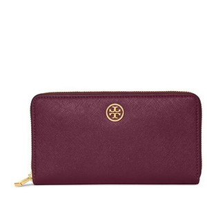 Tory Burch Robinson Multi-Gusset Zip Continental Wallet Red Wine Leather Shiraz