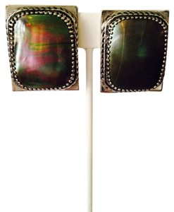 Whiting & Davis Large Mother Of Pearl In Silver Tone Earrings