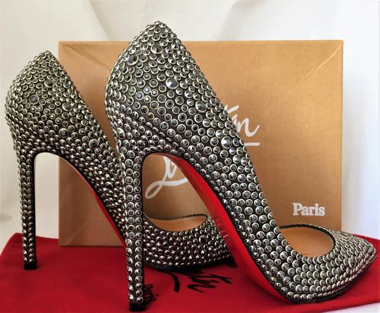 Christian Louboutin Thigh High Ankle Boots Spikes Studs Pigalle Black Pumps