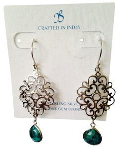 JS Collections Turquoise In Sterling Silver Scroll Dangle Earrings