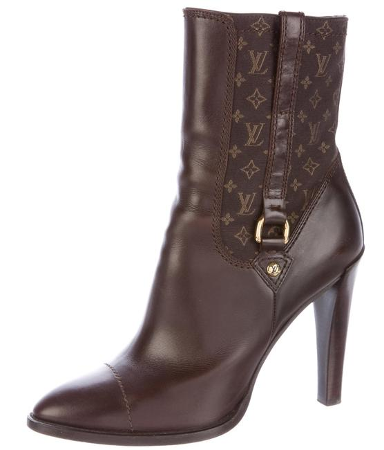 Item - Brown Gold Leather Idylle Lv Monogram Ankle Boots/Booties Size US 10 Regular (M, B)