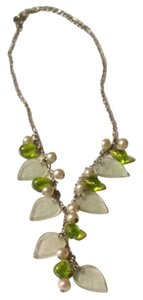 Independent Clothing Co. Beautiful Leaf, Pearl And Beaded Green Necklace