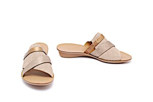 Paul Green Snake Embossed Slides Taupe, Copper Sandals