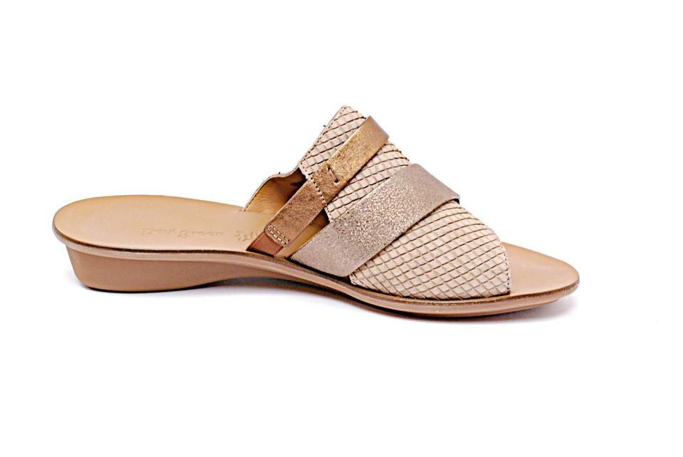 95c3a2d82 Paul Green Taupe Copper Snake Embossed Leather Slides+pewter Copper Strap  Sandals
