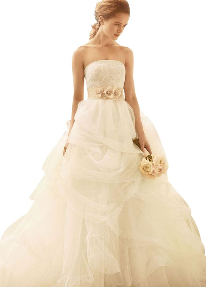 Vera Wang Ivory Tulle Vw351065 Traditional Wedding Dress Size 2 XS