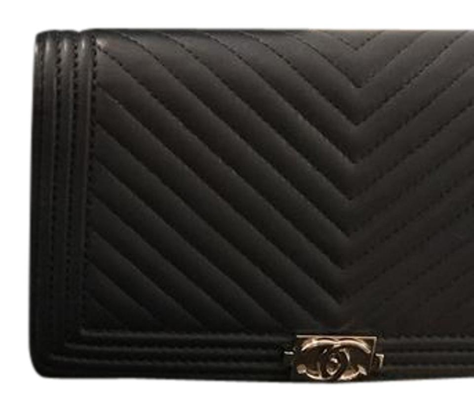 1552f2d32987 Chanel Navy Blue Chevron Quilted Lambskin Leather Boy Yen Wallet Image 0 ...
