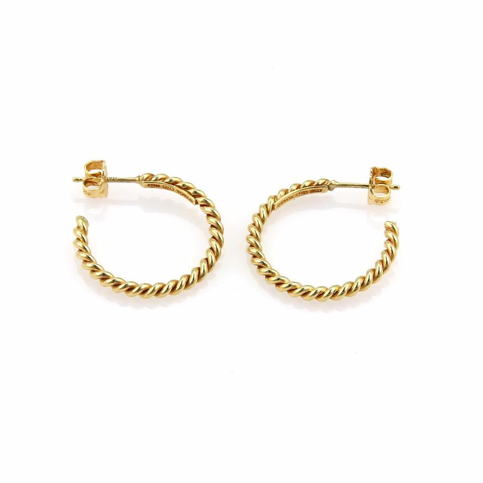Tiffany & Co. Yellow Gold Twisted Wire Semi Hoop Earrings - Tradesy