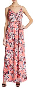Pink Maxi Dress by Yumi Kim Silk Black Floral Wrap Around Belted Printed Maxi Silk Long Draped Gown